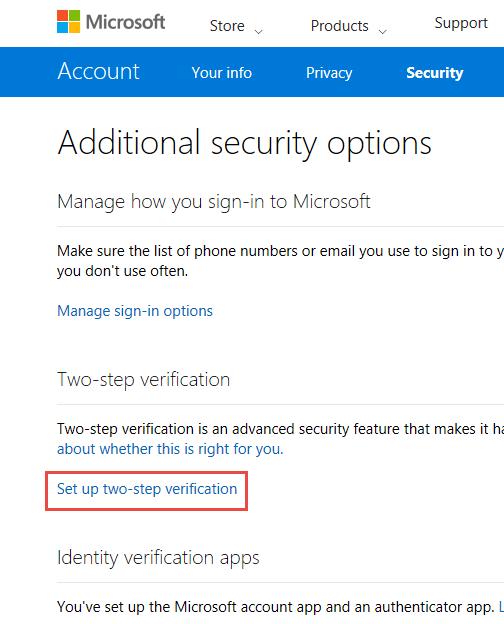 Microsoft, account, two-step verification, Authenticator