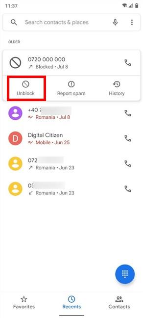 Tap on Unblock