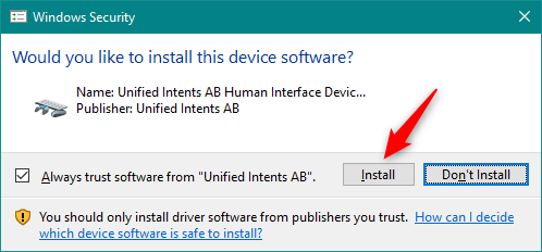 Allow the installation of Unified Intents AB Human Interface Device