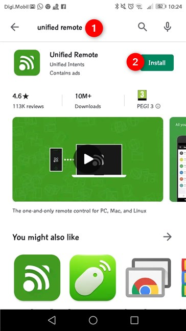 The Unified Remote Android app from the Play Store