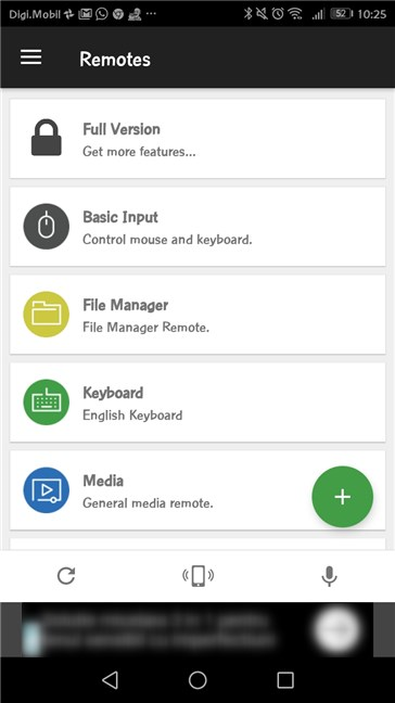 The available Remotes from the Unified Remote app