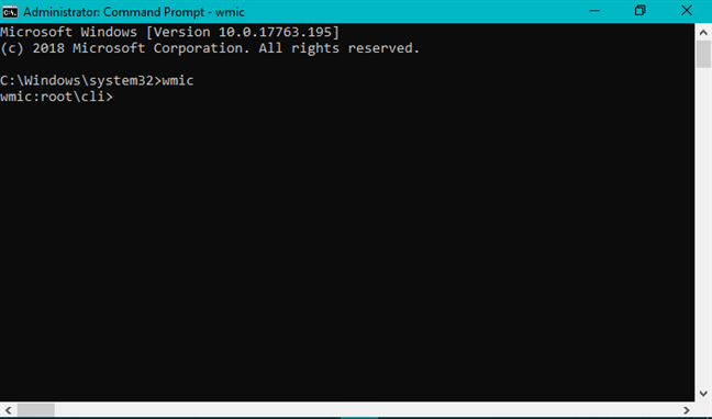 The wmic command in Command Prompt