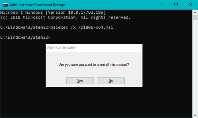 Uninstalling a program using the msiexec command on an MSI file
