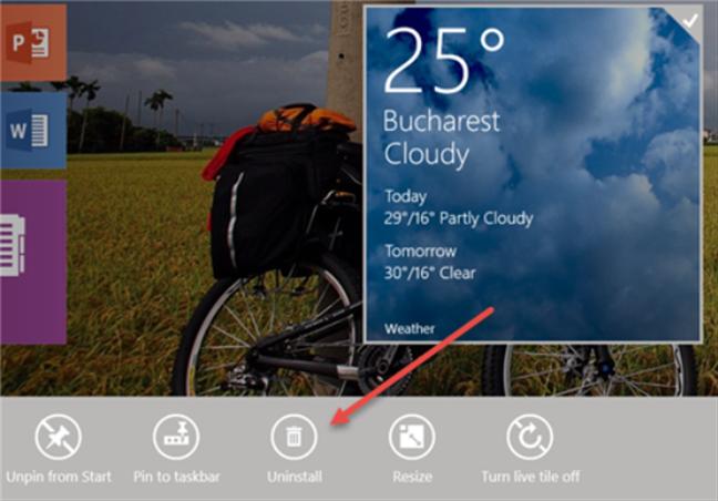 Uninstalling an app using the Start screen from Windows 8.1