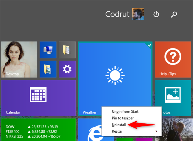 Uninstalling an app using the Start screen from Windows 8.1, using a mouse