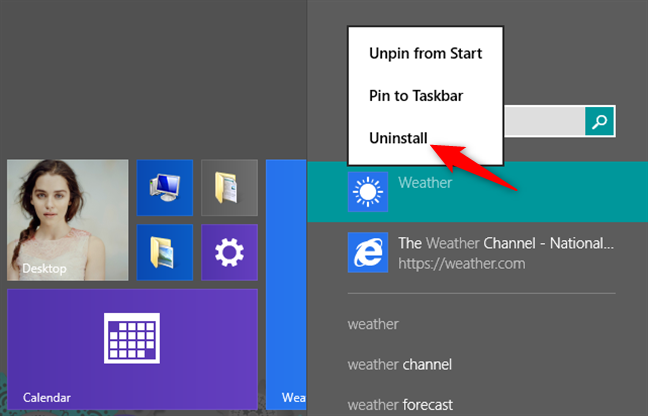 Using search to find and uninstall an app from Windows 8.1