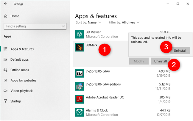 Uninstalling an app from Windows 10, using the Settings