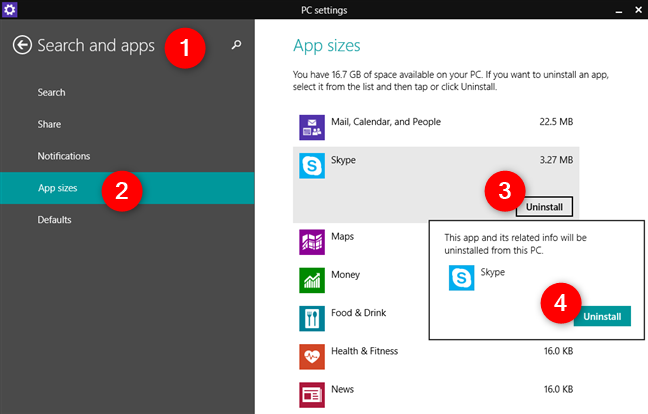 Uninstalling an app from Windows 8.1, using the PC Settings