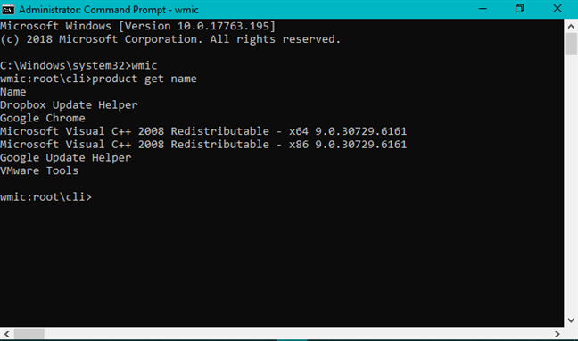 The product get name command in Command Prompt