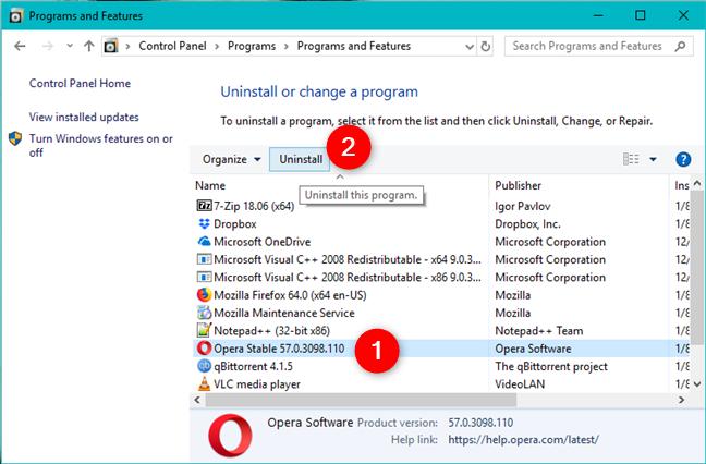 Uninstalling a program using the Control Panel