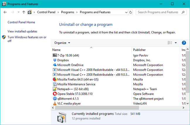 The Control Panel from Windows 10