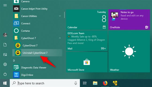 An uninstall shortcut shown in the Start Menu from Windows 10