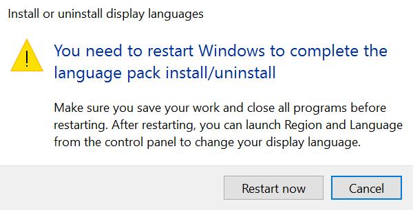 Windows, Lpksetup, Uninstall display language
