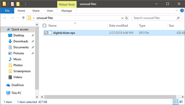 An unknown file with the EPS extension, shown in File Explorer