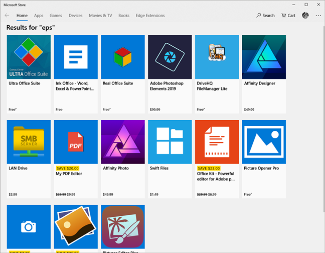 The Microsoft Store share what apps can open the eps file format