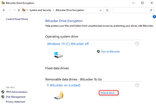 Unlock the BitLocker drive from the Control Panel