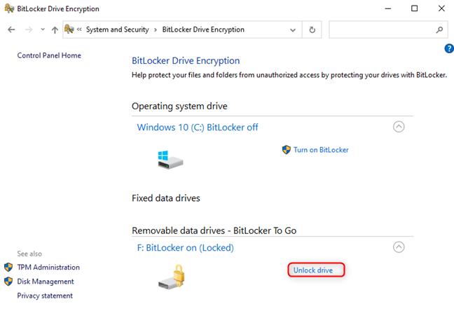 Desbloquee la unidad BitLocker desde el Panel de control