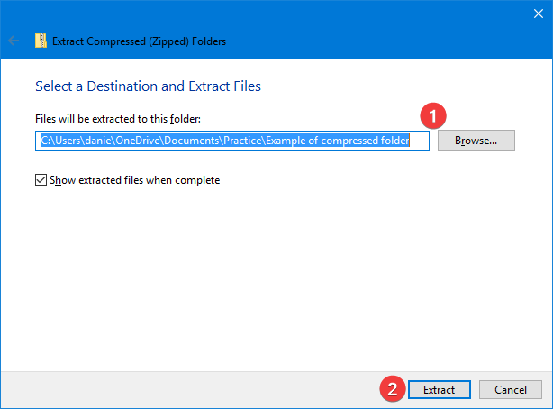Extract from Compressed (Zipped) Folders in Windows