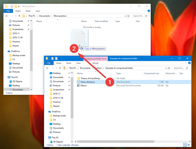 Drag and drop an item from a ZIP file in Windows