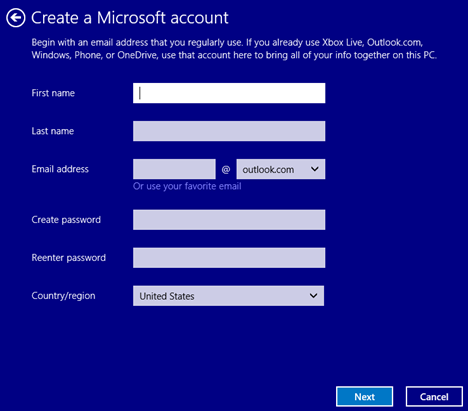 Windows 8.1, PC Settings, upgrade, user account, local, Microsoft