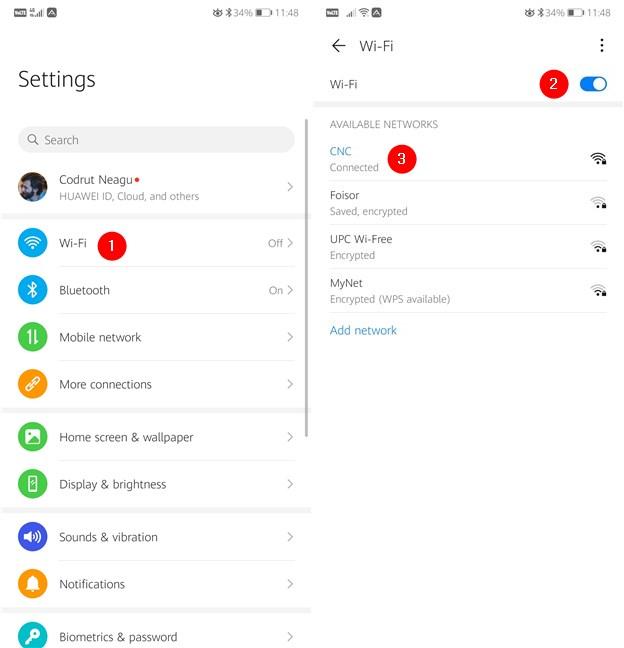Habilitación de Wi-Fi y conexión a una red inalámbrica en un teléfono inteligente Android