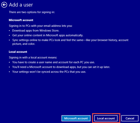 Windows 8.1, user, accounts, new, local, Microsoft, switch, create