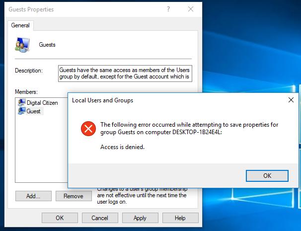 Windows, user group