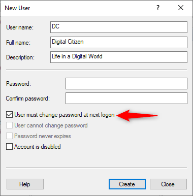 Choosing to ask the user to create a password at login