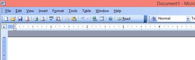 The top menu in Microsoft Word 2003