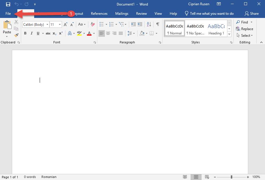 Access the File tab in Microsoft Word 2019
