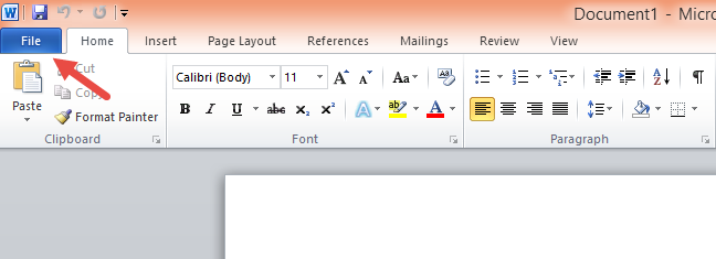 The File tab on the ribbon, in Microsoft Word 2010