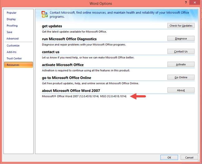 The Microsoft Office 2007 product version