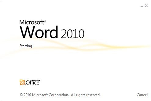 Starting Word in Office 2010