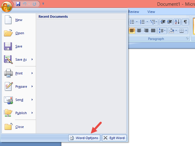 Word Options in Microsoft Office 2007