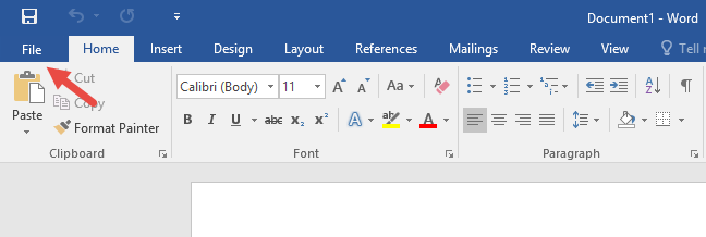 The File tab on the ribbon, in Microsoft Word 2016
