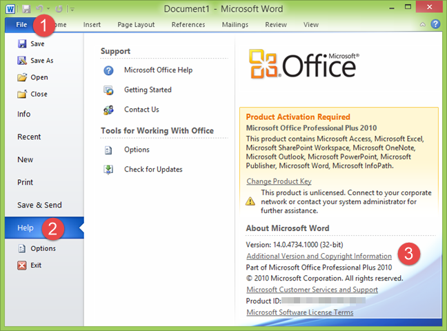 The product version in Microsoft Word 2010