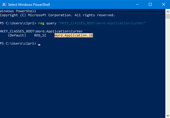 Read the Office version in PowerShell