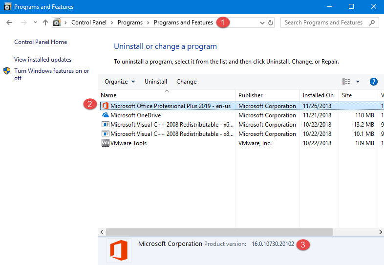 The Microsoft Office product version in Control Panel