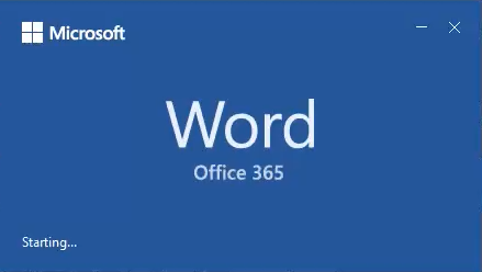 Starting Word in Office 365
