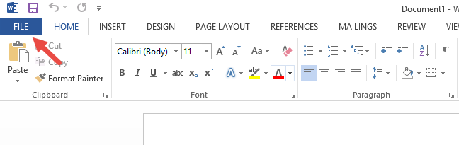 The File tab on the ribbon, in Microsoft Word 2013