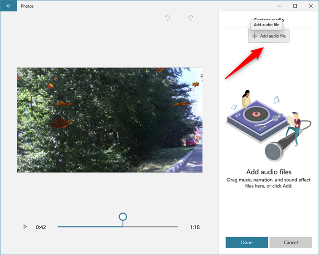 Video Editor lets you add custom audio tracks to videos