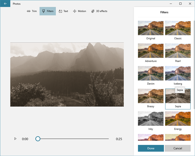 The filters available in Video Editor