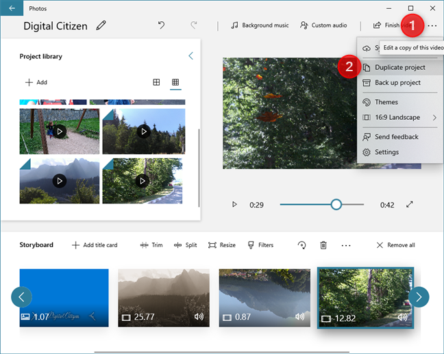 In Video Editor, you can duplicate video projects