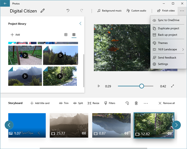 Video Editor can sync video projects to OneDrive and save them to other media