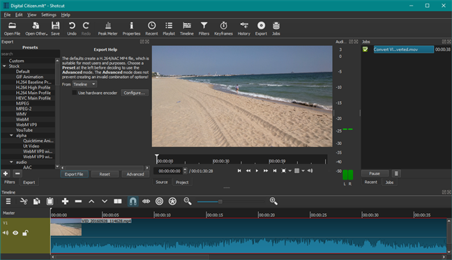 Shotcut: un reemplazo de Windows Movie Maker
