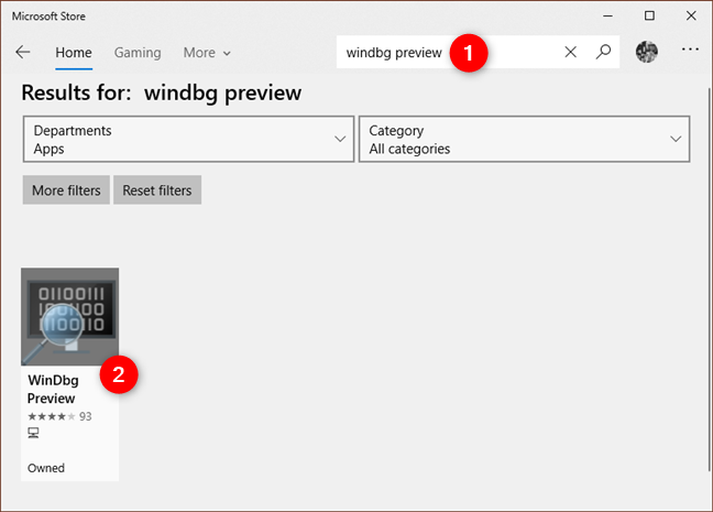 Searching for WinDbg Preview in the Microsoft Store