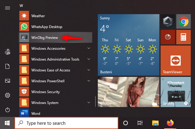 The WinDbg Preview shortcut form the Start Menu