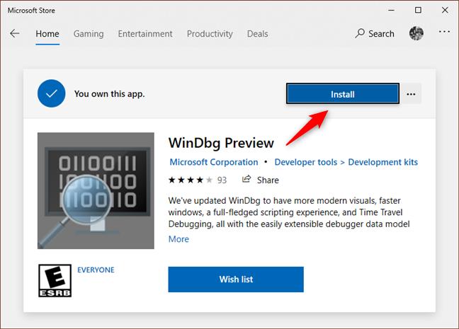 Instalación de la vista previa de WinDbg