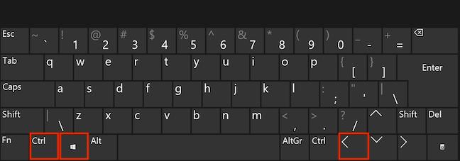 Simultaneously press the Ctrl, Windows, and Left Arrow keys