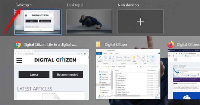 Press on a desktop's name to change it